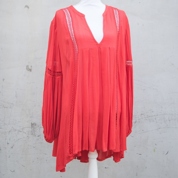 Free People Dresses & Skirts - Free People Red Bell-Sleeve Tunic Dress